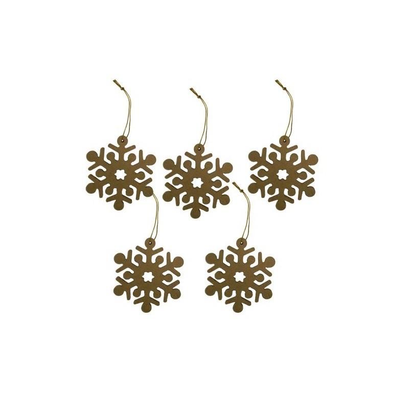 Lot de 5 flocon de neige en carton (MDF) à décorer
