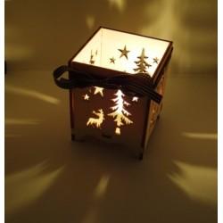 Photophore de Noël décors sapin et renne 7x7x8,5 cm