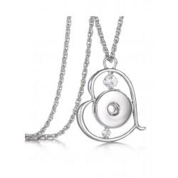 Collier pendentif coeur avec strass à bouton-pression