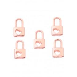 Pendentifs en métal cadenas avec coeur - Couleur d'or rose