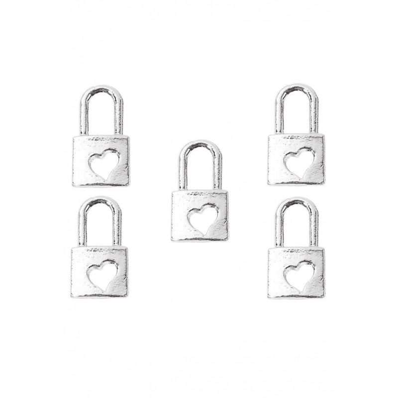 Pendentifs-en-métal- cadenas-avec-coeur- Couleur nickel-support-creativite.com