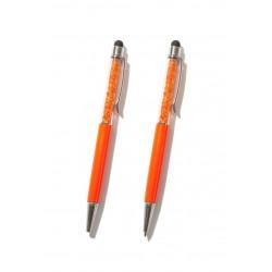 Stylo orange avec strass à l'intérieur