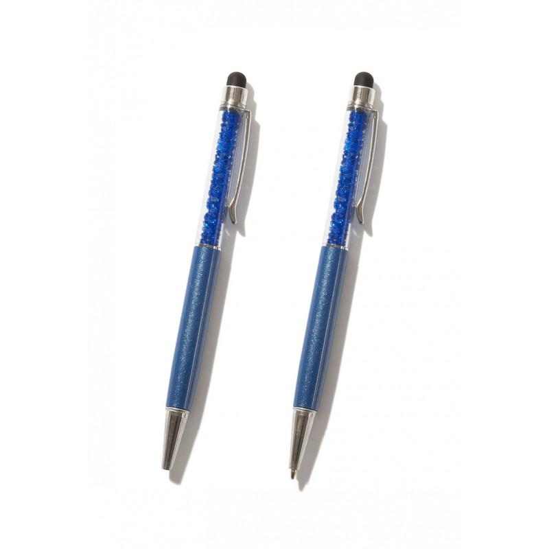 Stylo bleu avec strass à l'intérieur