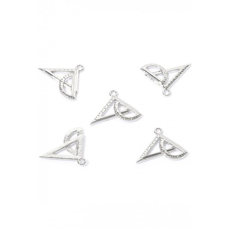 Pendentifs/breloques en métal geo triangle, nickel