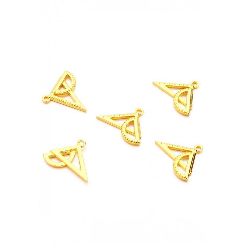 Pendentifs-breloques-en- métal-geo-triangle-Doré-support-creativite-com