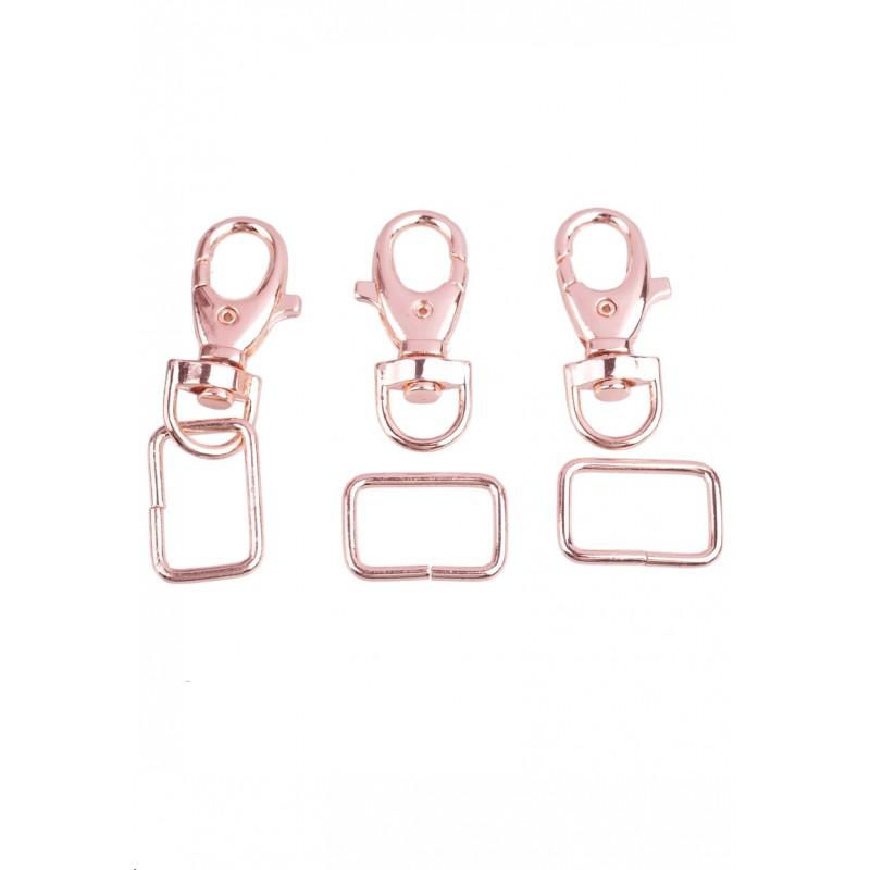 Porte-clés en métal avec anneau or rose