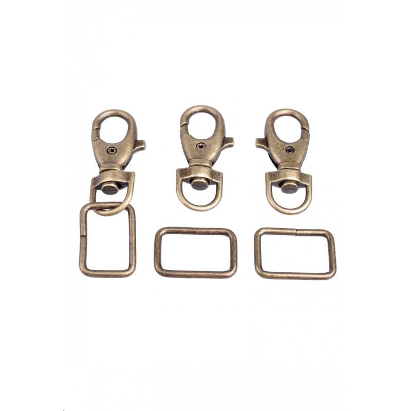 Porte-clés bronze vieux en métal avec anneau - Couleur bronze vieux