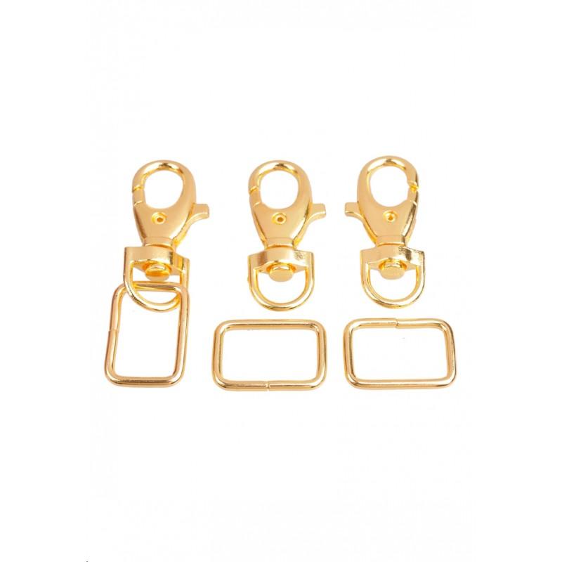 Porte-clés doré en métal avec anneau  - Doré