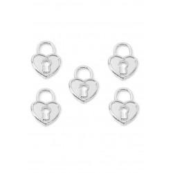Pendentifs en métal cadenas coeur Couleur nickel