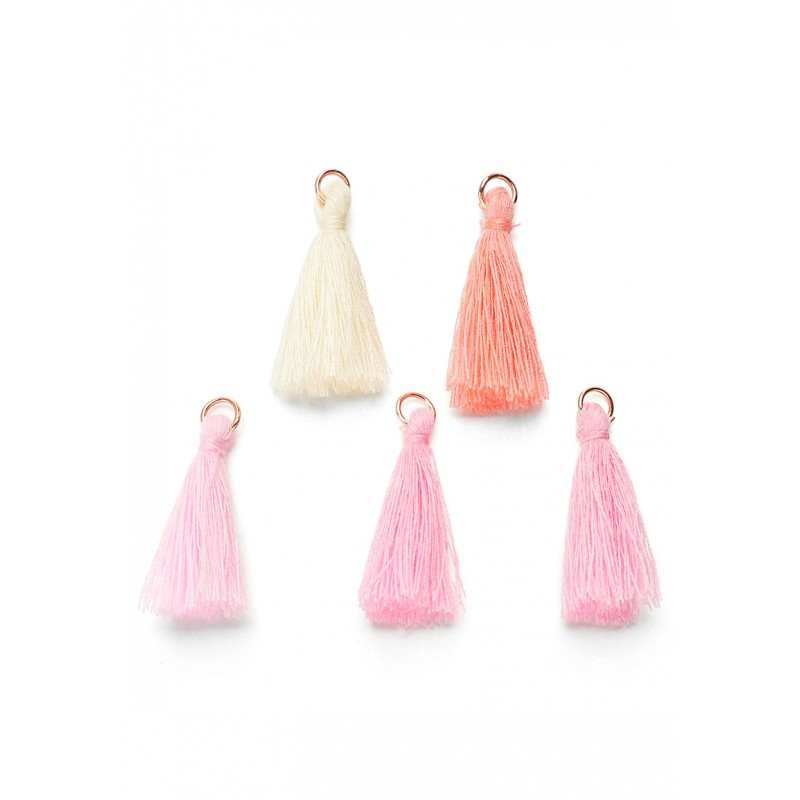 Mélange-pompons-en- textile-avec-anneau-rose- or-rose-support-creativite.com