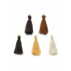 Mélange-pompons-en-textile-avec-anneau- Marron-Doré-support-creativite.com