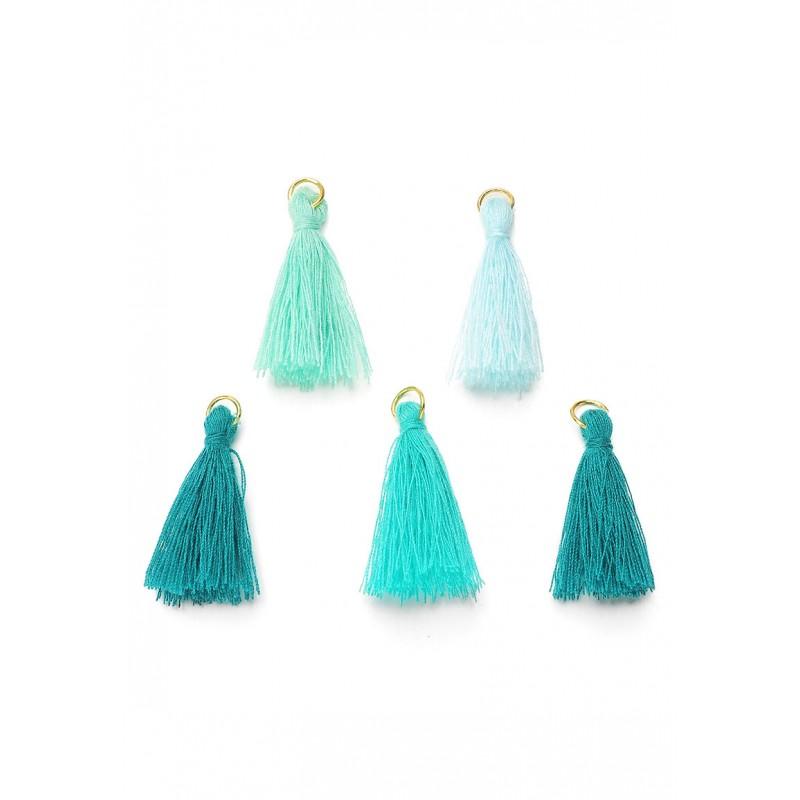 Mélange pompons en textile avec anneau Bleu-vert / Doré
