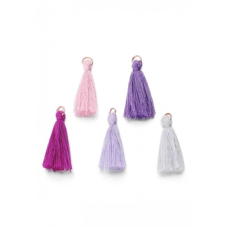 Mélange pompons en textile avec anneau Violet / Couleur d'or rose