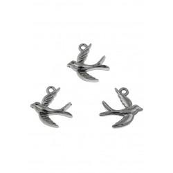 Pendentifs-/-breloques-en- métal-hirondelle-nickel-noir-support-creativite.com