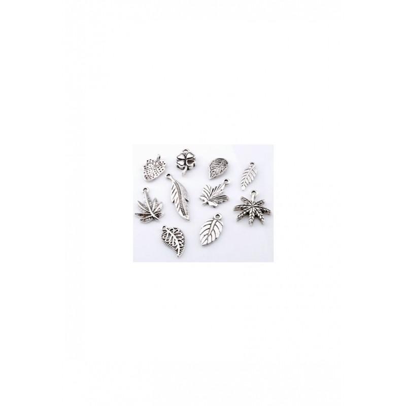 Mélange feuille pendentifs/breloques en métal