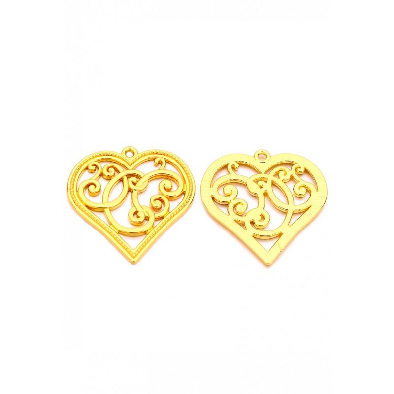 Pendentifs en métal coeur Doré 37x36mm