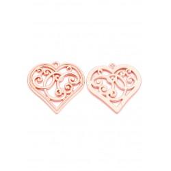 Pendentifs en métal coeur or rose 37x36mm