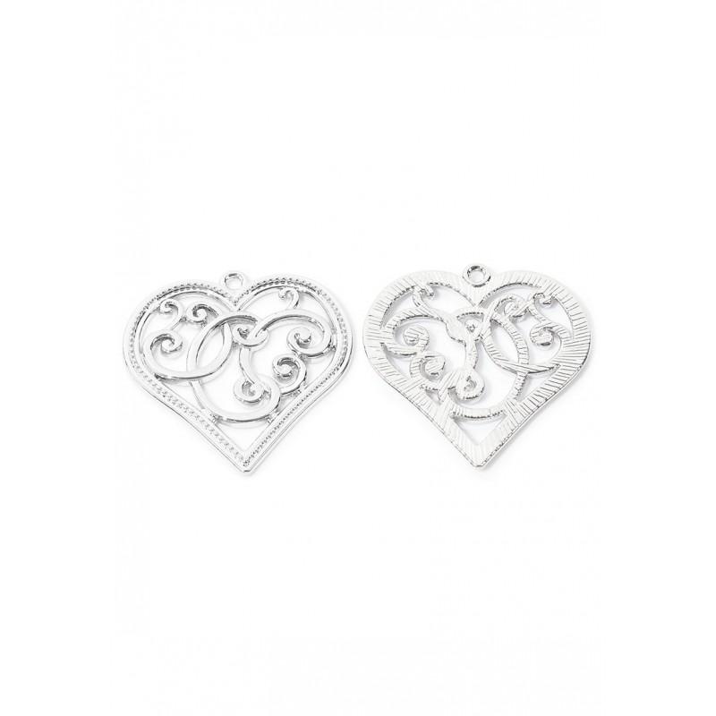 Pendentifs en métal coeur - nickel - 37x36mm