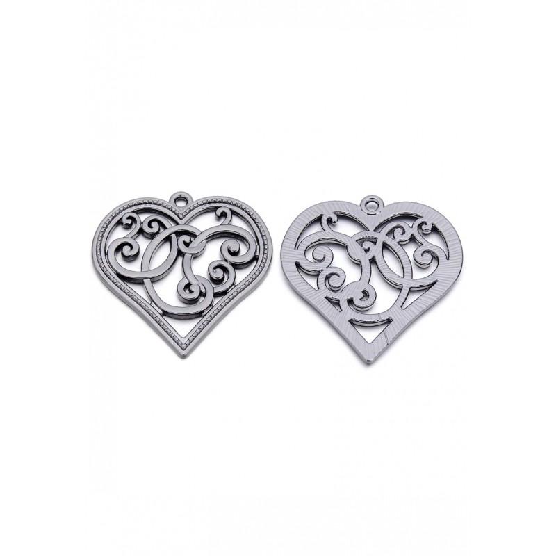 Pendentifs en métal coeur - nickel noir - 37x36mm