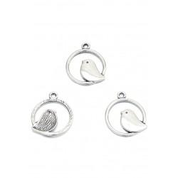 Pendentifs en métal anneau avec oiseau 24x21mm - argent vieilli