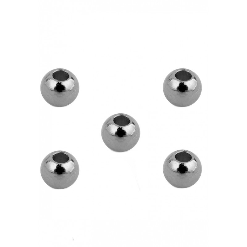 Perles nickel noir en acier inoxydable ronde 4x3mm
