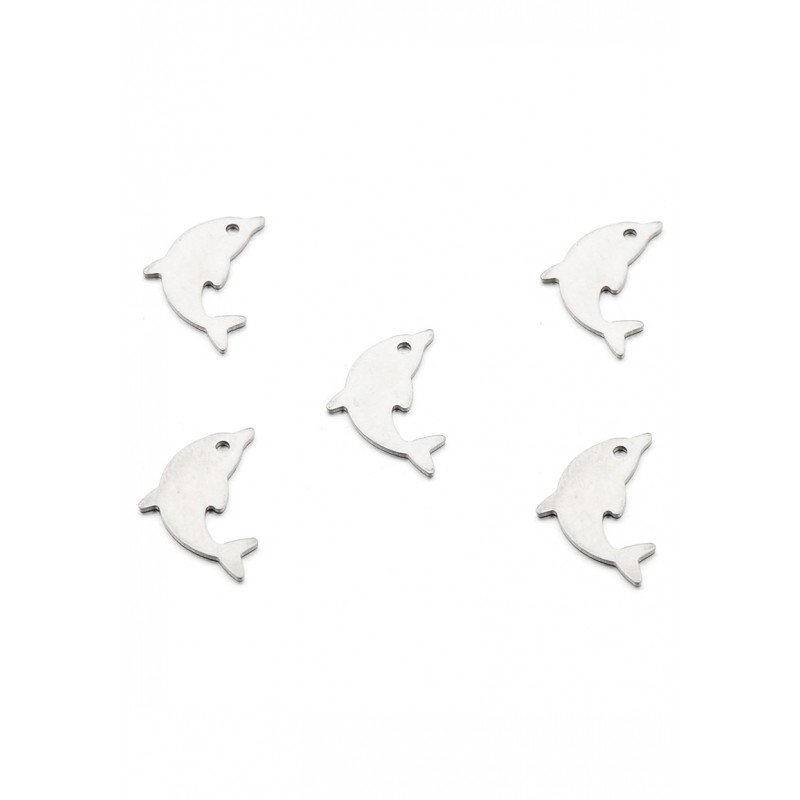 Floating Charms en acier inoxydable dauphin 17x11mm