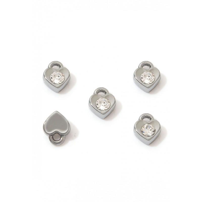 Pendentifs/breloques Cristal/Couleur nickel noir en métal coeur avec strass 7,5x6mm