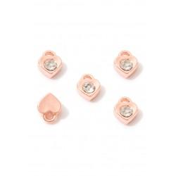 Pendentifs/breloques Cristal/Couleur d'or rose en métal coeur avec strass 7,5x6mm