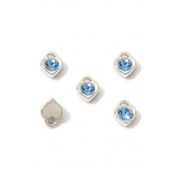 Pendentifs/breloques nickel/Bleu saphir clair en métal coeur avec strass 7,5x6mm