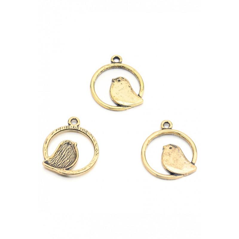 Pendentifs en métal anneau avec oiseau 24x21mm Or vieux