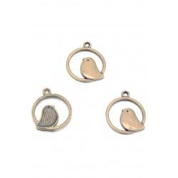 Pendentifs en métal anneau avec oiseau 24x21mm bronze vieux