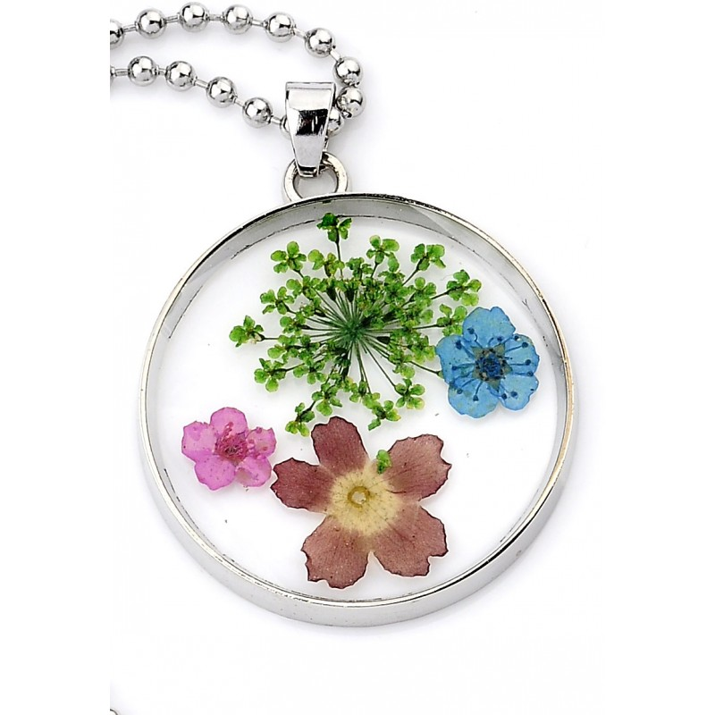 Collier avec pendentif en verre avec fleurs séchées 80cm