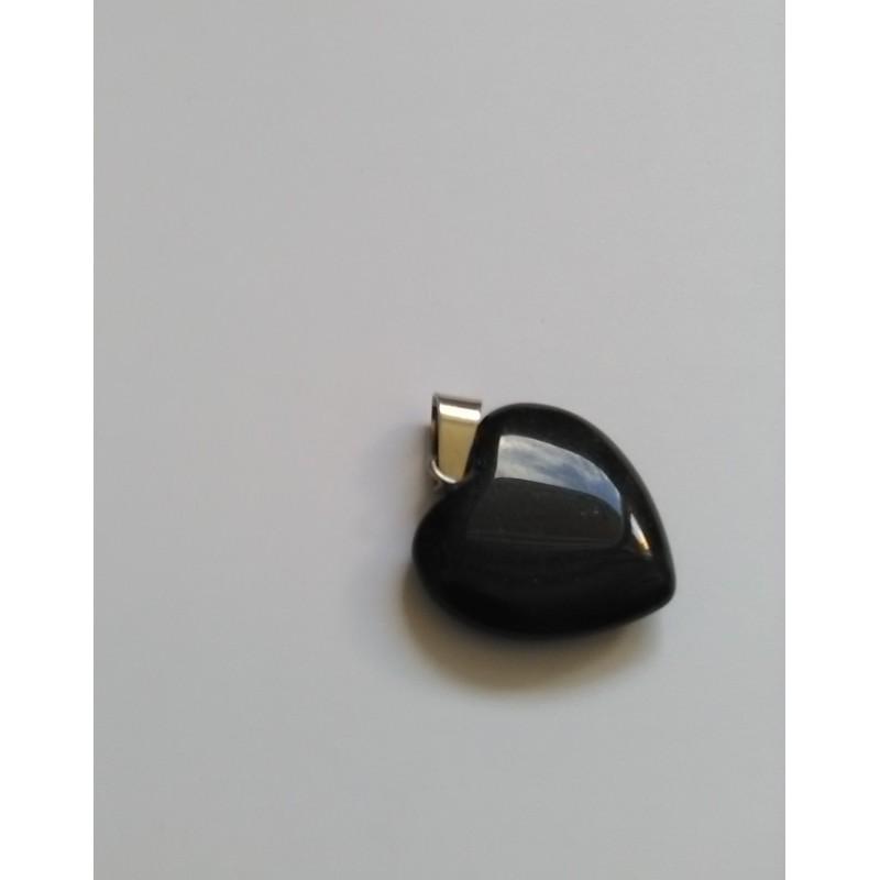 Pendentif coeur en pierre naturelle Blackstone 28x20mm