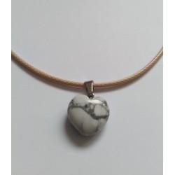 Pendentif coeur blanc/gris foncé en pierre naturelle Howlite 23x16mm