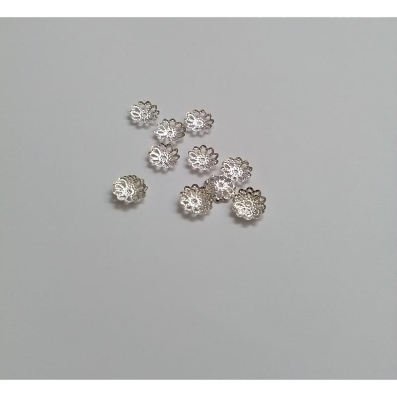 Calottes - coupelle filigrane fleur en métal 9x1,5mm