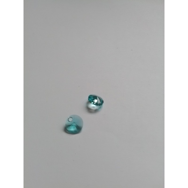 "pendentif/breloque 6428 light turquoise ""Xilion Pendant"" circulaire 8x4mm"