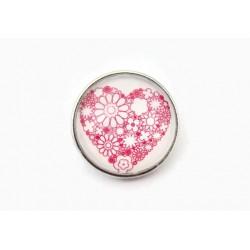 bouton-pression interchangeable Coeur Fleuri